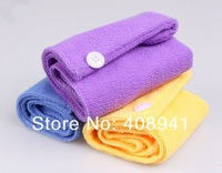Free Shipping+Wholesale Microfiber Hair Dry Drying Turban Wrap Towel,dry hair hat dry hair towel,300pcs/lot