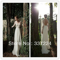 2014 new white/ivory Long sleeve wedding dress custom size 6 8 10 12 14 16 18+++