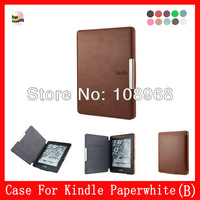 Auto wake sleep function,Shell Leather Case For Amazon Kindle Paperwhite 6''  (B style),Brown
