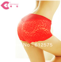 LL0053 5pcs/lot Red panties in the waist high women's lace sexy panties female trigonometric panties pants female