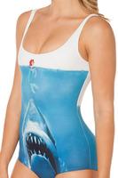 Supernova Sale Womens European Skinny SHARK VS MERMAID SWIMSUIT One Piece Digital Print Backless Wetsuit Free Shipping YY023