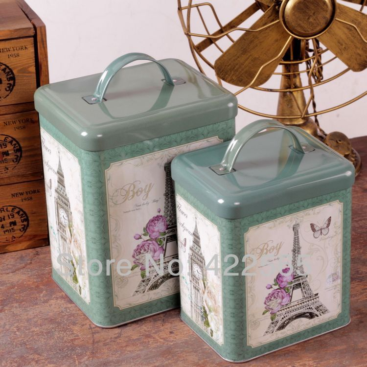 2pcs lot england style tin box set creative metal storage for Home decorations gifts