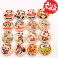 Free shipping 15mm Floral Nature Wood 2 Holes Buttons Round Painted Design animal Sewing  kid Clothing Accessories 200pcs/lot