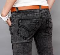 Burst section new 2013 Spring and Autumn Summer Snowflake black denim trousers pencil pants Slim small pant leg