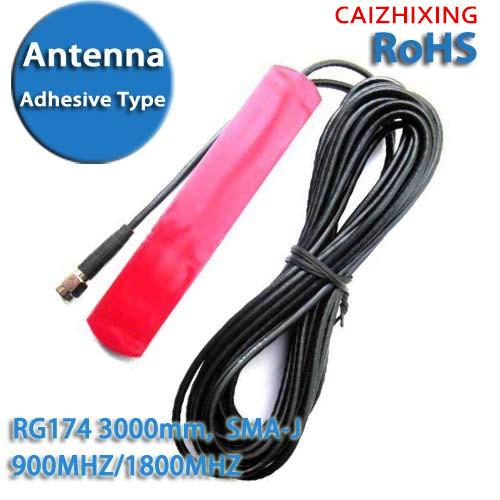 Free Shipping GSM GPRS 3G Car Antenna Patch antenna RG174 SMA Adhesive Type 2.5DBI 850MHZ/900MHZ/1800MHZ/1900MHZ 3000mm(China (Mainland))