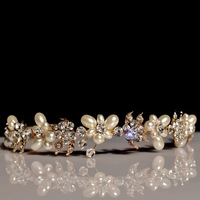 New 2014 Handmade Bride Golden Crystal Pearl Hairband Luxury Rhinestone Bridal Tiara Headband Wedding Hair Accessories WIGO0237