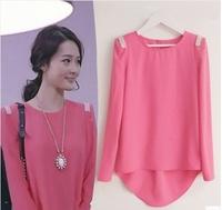 Free shipping!2014 Spring Korea Women's  Chiffon shirt Women Top Loose bLouse