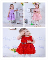 Sleeveless girl dress with Full beautiful roses and bowknot Popular style suitable for Summer Lovely girls love On Selling