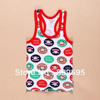 5pcs/lot , 2014 Summer baby boys Cotton tank tops & Camisoles , children Short sleeve tank tops free shipping