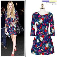Fashion In 2014 Vestido Floral Women Floral Print Dress Half Sleeve Dress Brand Free Shipping A0011