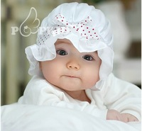 5pcs/lot Sweet white Polka Dots Baby Summer Hat  Kids silk princess hat Cap for 2-12M Baby adjustable