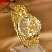 2014 Geneva Watch Full Steel Watches Women dress Rhinestone Analog wristwatches men Casual watch  Ladies Unisex Quartz watches