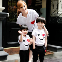 Family 2014 summer fashion family fashion white short-sleeve T-shirt summer parent-child set family set clothes for mother and