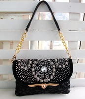 Free shipping diamond bag black paillette lace shoulder bag messenger bag gentlewomen portable small bags
