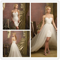 2014 Sheath Sweetheart Sleeveless Short Mini White Tulle Lace Appliques Detachable Wedding Dresses Bridal Gown