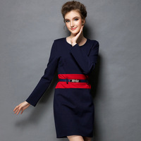 FREE SHIPPING 2014 new big yards women  geometric print pockets stitching Slim was thin long-sleeved dress L-XXXXXL