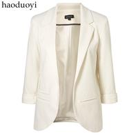 Candy color three quarter sleeve women's suit blazer plus size busiess suit