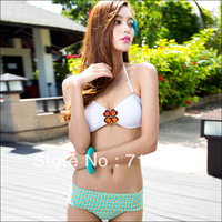 Hot Sale VS Crystal Bathing Suit Women Swim Wear Strapless Sexy Bikinis White Tops + Floral Bottoms Free Shipping