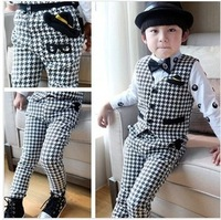 2014 New Arrival Boys Hot Sale Spring Gentleman Suit Waistcoat And Trousers 2 Pieces Set Fashion Swallow Gird Outfit