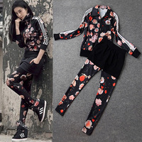 (Star) 2014 New Europe Brand Women Spring Summer Fashion Casual Sport Floral Print Clothing Suit 3pc/set Top+ Long Pants + Skirt