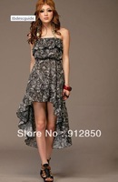3 colors Free shipping Women's new 2014 Bohemian style printing flouncing irregular big swing Strapless Dress