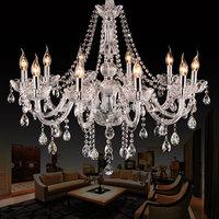10 heads K9 crystal chandelier light living room lights bedroom lamp restaurant lamp brief modern chandelier lighting
