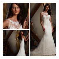 2014 A-line Scoop Sleeveless Court Train White Lace Appliques Lace Up Elegant Wedding Dresses Bridal Gown