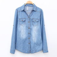 2014 Womens Shirts Turn-down Collar Long Sleeve Denim Shirts ladies blouses Pockets jeans clothes Free Shipping