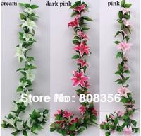 "NEW 1Pcs 220cm/86.61"" Length Artificial Flowers Simulation Lily Vine Rattan Garlands Lilies Pipeline Decoration Wedding Flower"