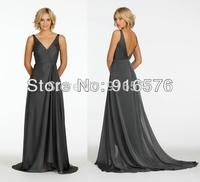 New V 2014 A-line Bridesmaid Dresses  Chiffon Sleeveless Long Dress With Small Train Pleats