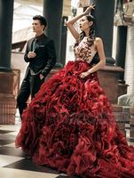 free shipping bandage dress 2014 lace appliques brides maid luxury ball gown organza Brautkleid in rhinestone red wedding dress