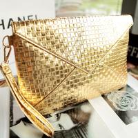 2014 new fashion  women's handbag fashion gold small bag  envelope clutch banquet day clutch