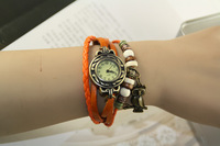 New Vintage Retro Leather Strap Roma Number Dial Woman Watch Bracelet Black brown green ,blue ,orange,red,white