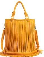 2014 fashion   tassel bag vintage rivet bag female bags big bags handbag black