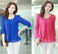 2014 Spring Fashion Slim Plus Size Cool Chiffon Shirt Long-Sleeve Top Shirt Female Long-Sleeve Chiffon Blouse Shirts BS20