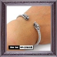 925 pure silver double beads twisted opening lovers bracelet vintage street .