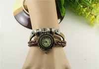 Freeshipping   New Vintage Retro Leather Strap Roma Number Dial Woman Watch Bracelet