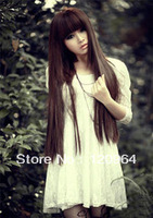 long straight synthetic human front lace hair wig   Long lady's Hair Cosplay straight Dark brown Wig
