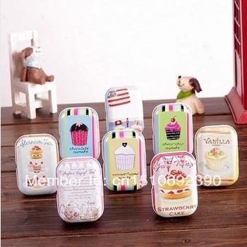 ON Sale! Free shipping sweet cake series quality iron case tin box /32 pcs per lot/ Multi-purpose Storage Case(China (Mainland))