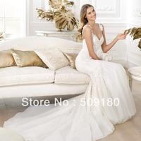 2014 elegent high quality customized sleeveless V neck floor length mermaid wedding gown design PX009 wedding party dresses