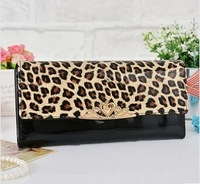 2014 New Women Fashion Designer Black Leopard Print Pu Leather Wallets Women's 5 colours High Quality Long Wallet Free Shipping