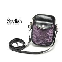 Mini messenger shouler bag paillette small bags mobile phone bag coin purse wallet key bag Cell Phone Bag/ Pouch/Case