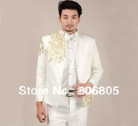 100% Hand embroidered Slim men`s Chinese tunic suit  three color  jacket + pant