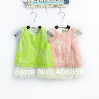 2014 summer!Lotita style green/pink color 5pieces per lot girls lace chiffon dress for little princess birthday party #9020