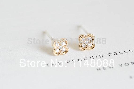 New 2014 Fashion 18K Gold Silver Unique Design Luxury Exquisite Pretty CZ Crystal Diamond mini monogram earrings-free shipping(China (Mainland))