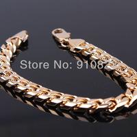 """Men's Wide Watch Chain 18k Yellow Gold Filled Cool Heavy Bracelet Jewelry 8.27"""" 23cm long"""