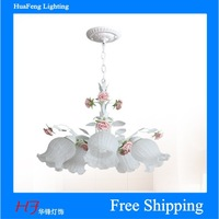 free shipping rustic chandelier flower rose lighting chandelier glass lighting 5-lihgts led bulb