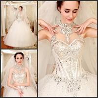 New arrival 2014 elegant diamond design wedding dress train