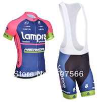 2014 Lampre Good Quality Bike Jersey(Upper)+Bib Short(Lower)/Made From High Quality Polyester And Lycra Bicycle Cloth
