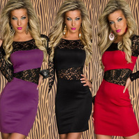 3 Color Black Purple Red M XL Plus Size 2014 Spring Dress New Fashion Lady Lace Insert Long Sleeve Bodycon Casual Dress OL339